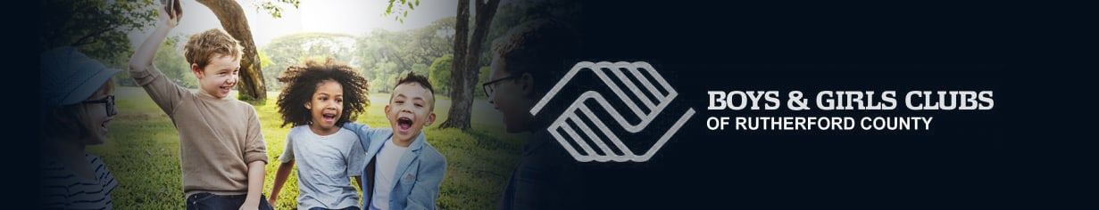 The Boys and Girls Club of Murfreesboro logo over an image of kids in the outdoors